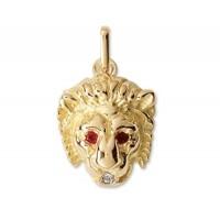 Pendentif TETE de LION en OR avec DIAMANT et RUBIS