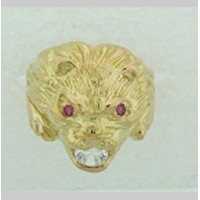 Bague TETE de LION en OR et PIERRES