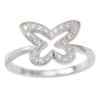 Bague Papillon en OR Blanc et DIAMANTS