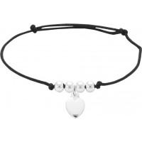 Bracelet Cordon avec breloque Coeur en Argent