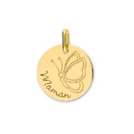 """Médaille en OR avec Papillon et gravure """"Maman"""""""