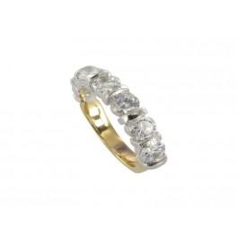 "Demi-Alliance Diamants sertissage ""Barrette"" en OR"