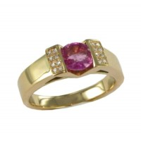Bague Saphir Rose et Diamants en OR