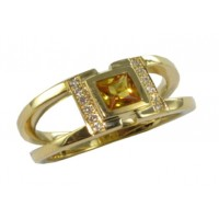 Bague Saphir Jaune et Diamants en OR
