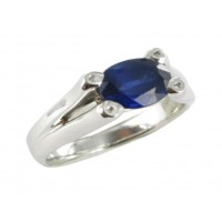 Bague Saphir Bleu et Diamants en OR