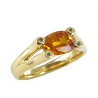 Bague Saphir Orange et Diamants en OR