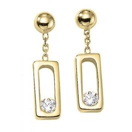 Boucles d'oreilles Pendantes en OR et Diamant