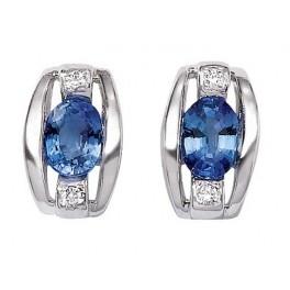 Boucles d'oreilles en OR avec Diamants et Pierre Précieuse