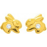 Boucles d'oreilles Lapin en OR et Oxyde de Zirconium