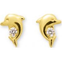 Boucles d'oreilles Dauphin en OR et Oxyde de Zirconium