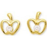 Boucles d'oreilles Pomme en OR et Oxyde de Zirconium