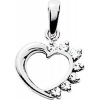 Pendentif Coeur en OR et Oxydes de Zirconium