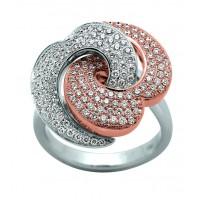Bague 2 ORS avec Coeurs en Diamants entrelacés