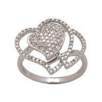 Bague Coeur en OR Blanc et Diamants