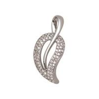 Pendentif Feuille en OR Blanc et Diamants