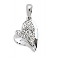 Pendentif COEUR en OR Blanc et Diamants