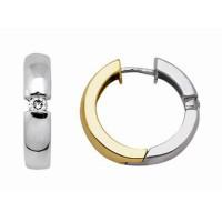 Boucles d'oreilles Créoles 2 ORS et Diamants