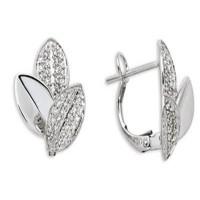 Boucles d'oreilles FEUILLES en OR Blanc et Diamants