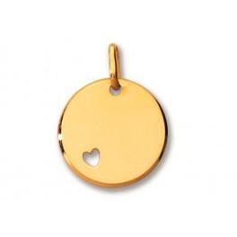Médaille Ronde en OR Jaune avec un Coeur