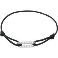 Bracelet cordon avec motif Ovale en Argent et Oxydes de Zirconium