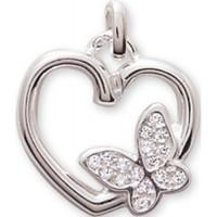 Pendentif en Argent Coeur avec Papillon et Oxydes de Zirconium
