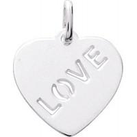 Pendentif Coeur LOVE en Argent Massif Rhodié