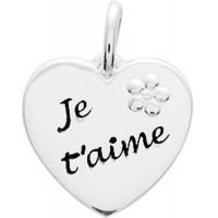 """Pendentif Coeur """"Je t'aime"""" avec Fleur en Argent Massif"""