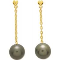 Boucles d'Oreilles Pendantes en OR Jaune avec Perles de Tahiti