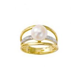 Bague en OR avec Perle et Diamants
