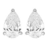 Boucles d'oreilles en OR avec Oxydes de Zirconium Poire