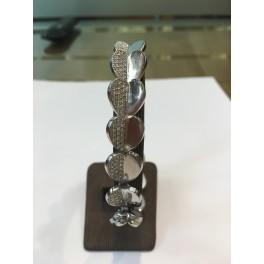 Bracelet en OR Blanc motifs Coeurs et Diamants