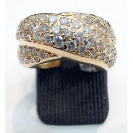 Bague en OR Jaune et pavage en Diamants