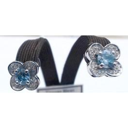 Boucles d'Oreilles OR Blanc avec Diamants et Zircon Bleu