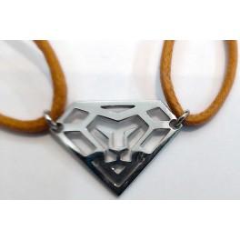 """Bracelet cordon motif """"Tête de Lion Diamant"""" en Argent"""