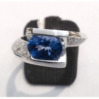 Bague Or Blanc Tanzanite et Diamants