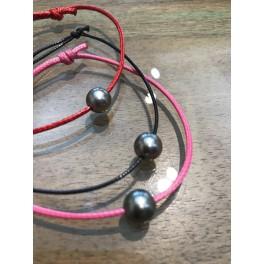Bracelet Perle de Tahiti sur cordon