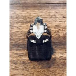 Bague Or blanc avec Aigue-marine et Diamants