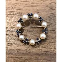 Broche Or jaune avec Perles de Culture et Saphirs